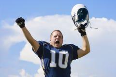 Celebrazione del giocatore di football americano Fotografie Stock Libere da Diritti