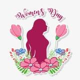 Celebrazione del giorno delle donne con la siluetta ed i fiori della donna illustrazione di stock
