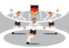 Celebrazione del gruppo del giocatore della Germania con il distintivo Fotografia Stock