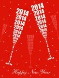 Celebrazione 2014 del nuovo anno Immagine Stock Libera da Diritti