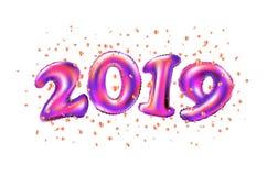 Celebrazione 2019 del nuovo anno di vettore numero porpora 2019 dei palloni della stagnola e coriandoli su fondo bianco 3D che re illustrazione vettoriale