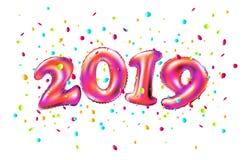 Celebrazione 2019 del nuovo anno di vettore numero rosa 2019 dei palloni della stagnola e coriandoli su fondo bianco 3D che rende illustrazione di stock