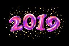 Celebrazione 2019 del nuovo anno di vettore numero rosa 2019 dei palloni della stagnola e coriandoli su fondo nero rappresentazio illustrazione di stock