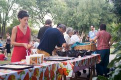 Celebrazione del Sukkot ad un kibbutz Fotografia Stock Libera da Diritti