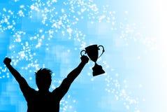 Celebrazione del vincitore del trofeo illustrazione di stock