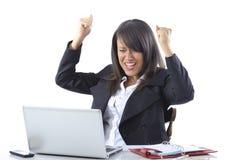 Celebrazione della donna di affari Immagine Stock