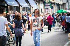 Celebrazione della liberazione tenuta a Milano il 25 aprile 2014 Fotografia Stock Libera da Diritti