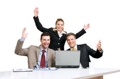 Celebrazione della squadra di affari immagini stock