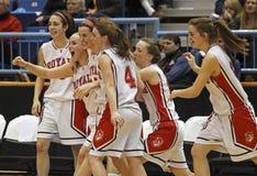 Celebrazione delle ragazze di pallacanestro fotografia stock