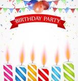 Celebrazione di compleanno con i palloni e la candela Fotografia Stock