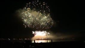 Celebrazione di concetto del fondo della riva di mare di manifestazione del fuoco d'artificio video d archivio