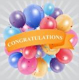 Celebrazione di congratulazioni con il pallone illustrazione di stock