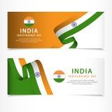 celebrazione di festa dell'indipendenza dell'India, illustrazione del modello di vettore di progettazione di insieme dell'insegna illustrazione di stock