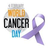 Celebrazione di giorno del cancro del mondo di consapevolezza del cancro con il globo eps10 Immagini Stock Libere da Diritti