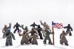 Celebrazione di giorno del ` s del patriota Foto astratta Figure fatte dall'argilla del gioco Fotografie Stock