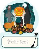 Celebrazione di Halloween Zucca sul cimitero contro fondo scuro Fotografie Stock