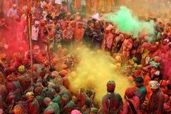 Celebrazione di Holi a Nandgaon Fotografie Stock