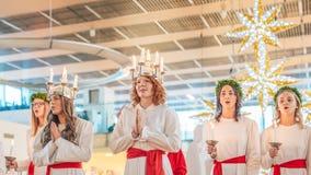 Celebrazione di Lucia in Svezia Immagine Stock