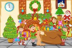 Celebrazione di Natale con Santa Fotografie Stock Libere da Diritti