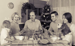 Celebrazione di Natale nel petto della famiglia Fotografie Stock Libere da Diritti