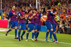 Celebrazione di obiettivo di FC Barcellona Immagini Stock Libere da Diritti