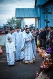 Celebrazione di Pasqua nella chiesa ortodossa Fotografia Stock