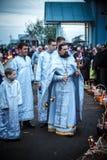 Celebrazione di Pasqua nella chiesa ortodossa Immagine Stock