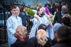 Celebrazione di Pasqua nella chiesa ortodossa Immagine Stock Libera da Diritti