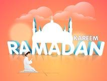 Celebrazione di Ramadan Kareem con testo 3D e la moschea Immagini Stock Libere da Diritti