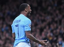 Celebrazione di scopo di Manchester City Fotografia Stock Libera da Diritti