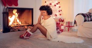 Celebrazione di tema rossa e bianca di Natale Fotografia Stock
