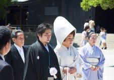 Celebrazione di una cerimonia nuziale giapponese tradizionale Fotografia Stock