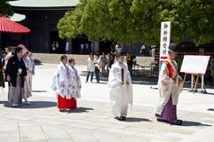Celebrazione di una cerimonia nuziale giapponese tradizionale Fotografia Stock Libera da Diritti