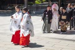 Celebrazione di una cerimonia nuziale giapponese tradizionale Fotografie Stock