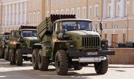 Celebrazione di Victory Day: BM-21 il ` del laureato del ` Lanciarazzi multiplo Fotografia Stock
