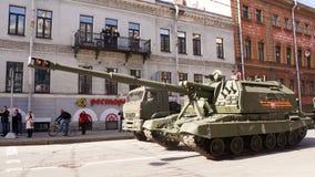 Celebrazione di Victory Day: Pistola automotrice Immagini Stock Libere da Diritti