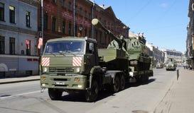 Celebrazione di Victory Day: Trasporto del carro armato Fotografie Stock Libere da Diritti