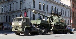 Celebrazione di Victory Day: Trasporto del carro armato Fotografie Stock