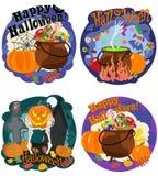 Celebrazione e congratulazioni con Halloween, immagini tematiche Illustrazione di vettore Fotografie Stock Libere da Diritti
