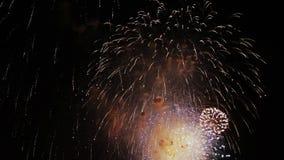 Celebrazione e fondo di esplosioni dei fuochi d'artificio stock footage