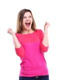 Celebrazione estatica felice di conquista della donna di successo essendo un vincitore Immagini Stock