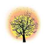 Celebrazione felice, albero divertente con i simboli di festa Immagini Stock