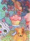 Celebrazione felice del bigné del biglietto di auguri per il compleanno con la pittura a olio degli amici gatto, dell'orsacchiott Immagini Stock
