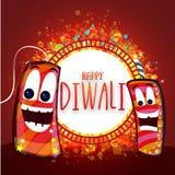 Celebrazione felice di Diwali con i petardi Immagini Stock Libere da Diritti