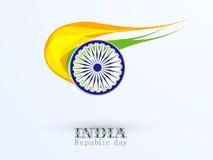 Celebrazione indiana di giorno della Repubblica con la ruota di Ashoka e la f nazionale Immagine Stock Libera da Diritti