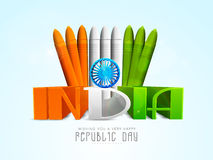 Celebrazione indiana di giorno della Repubblica con testo 3D Fotografie Stock Libere da Diritti