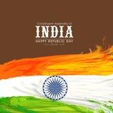 Celebrazione indiana felice di giorno della Repubblica con le piume tricolori Fotografie Stock Libere da Diritti