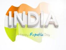 Celebrazione indiana felice di giorno della Repubblica con testo 3D Fotografia Stock Libera da Diritti