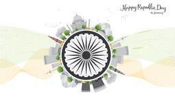 Celebrazione indiana felice di giorno della Repubblica Illustrazione di vettore Fotografia Stock
