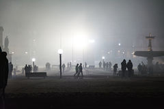 Celebrazione Omin del nuovo anno del fumo di Schlossplatz dei fuochi d'artificio di Stuttgart Fotografie Stock